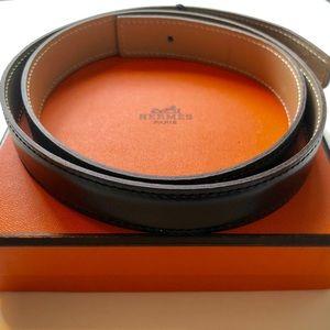 Hermes 24mm Black & Beige Reversible Belt Strap